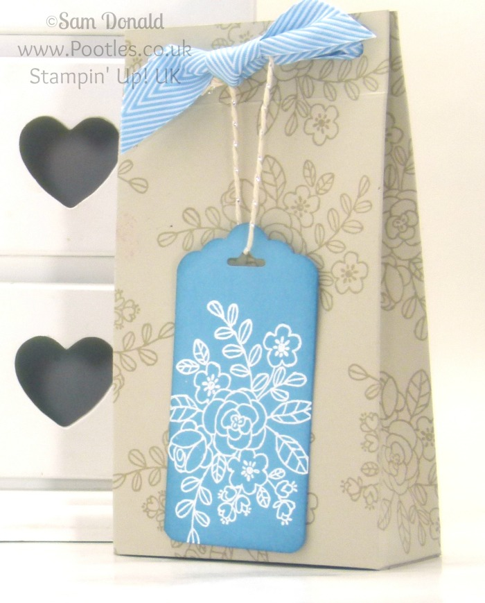 POOTLES Stampin' Up! UK Elegant Box Bag & Tag Tutorial Single