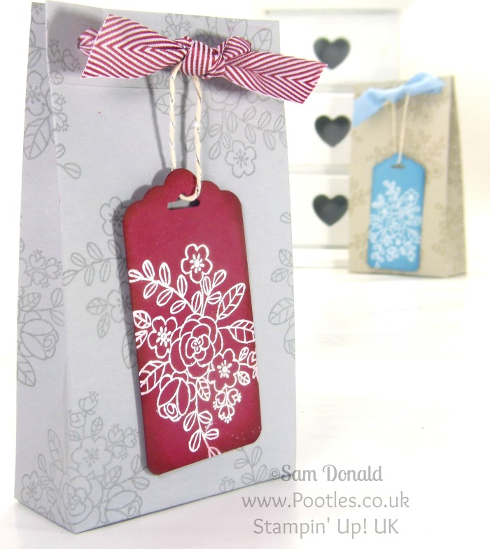 POOTLES Stampin' Up! UK Elegant Box Bag & Tag Tutorial